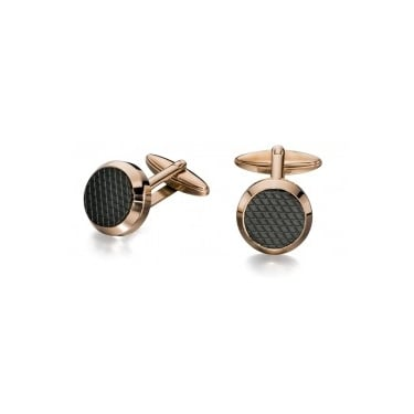 Fred Bennett Rose Gold and Black Textured Cufflinks