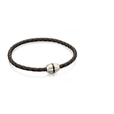 Fred Bennett Stainless Steel Brown Thin Leather Bracelet