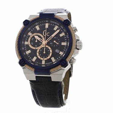Guess Collection Gents Cable Force Navy Leather Navy Dial Watch
