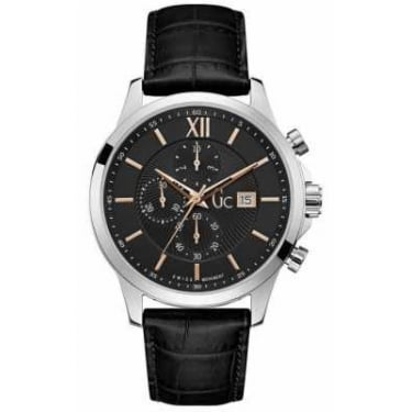 Guess Collection Gents Executive Black Leather Watch