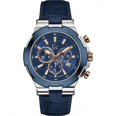 Guess Collection Gents Structura Blue Leather and Silver Chrono Watch