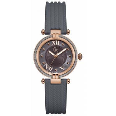 Guess Collection Ladies Cablechic Grey Silicon with Rose Grey Dial Watch