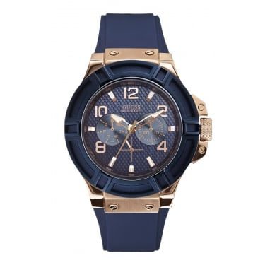 Guess Gents Rigor Blue Silicone Strap Watch