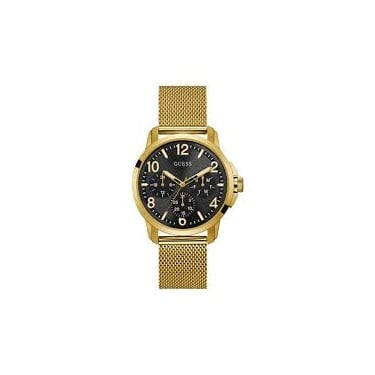Guess Gents Yellow Gold Black Voyager Watch