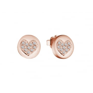 Guess Heart Devotion Rose Gold CZ Earrings
