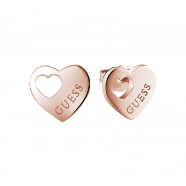 Guess Heart Devotion Rose Gold Plain Earrings