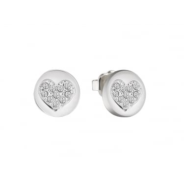 Guess Heart Devotion Silver CZ Earrings