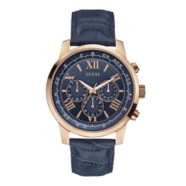 Guess Horizon Black Leather Strap Watch Gents