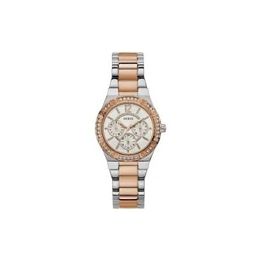 Guess Ladies Envy Rose Gold Case White Dial and Black Leather Watch