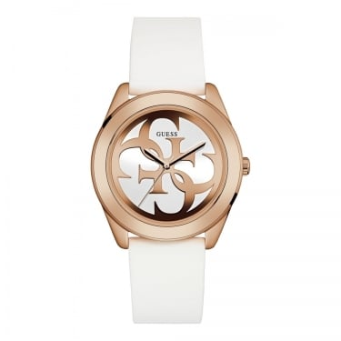 Guess Ladies G Twist Rose Gold and White Silicon Strap Watch