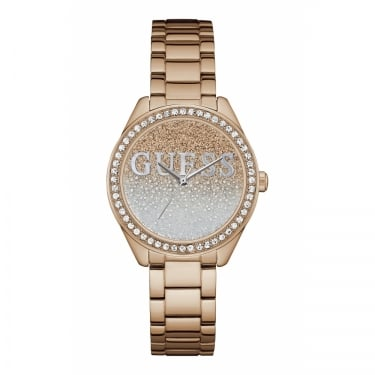 Guess Ladies Glitter Girl Rose Gold Bracelet Watch