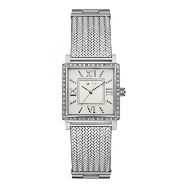Guess Ladies Highline Silver Square Stone Set Bracelet Watch