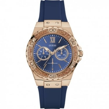 Guess Ladies Limelight Rose Gold Case Blue Dial and Blue Silicon Watch