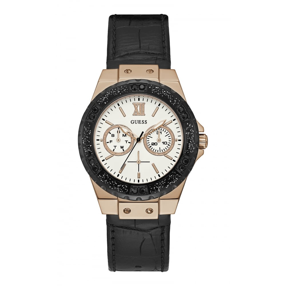 Guess Guess Ladies Limelight Rose Gold Case White Dial And Black Leather Watch
