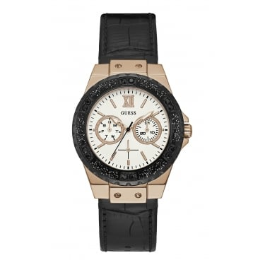 Guess Ladies Limelight Rose Gold Case White Dial and Black Leather Watch