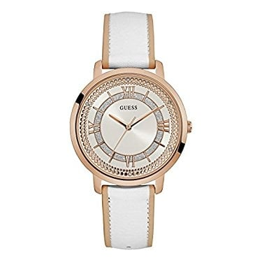 Guess Ladies Montauk Rose Gold and White Leather Strap Watch