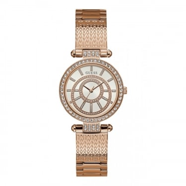 Guess Ladies Muse Rose Gold Case White Dial and Rose Gold Watch