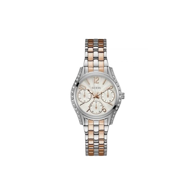 Guess Ladies Prima Silver Case White Dial and Rose Silver Watch