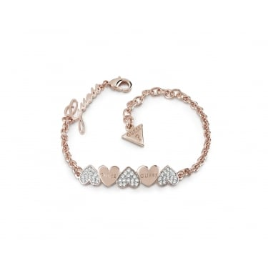 Guess Ladies Rose Gold Plated Heart Bouquet Bracelet