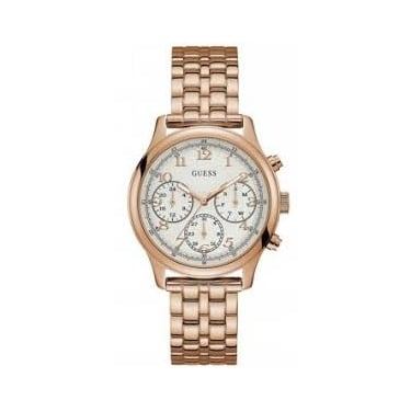 Guess Ladies Taylor Rose Gold Case White Dial and Rose Gold Watch