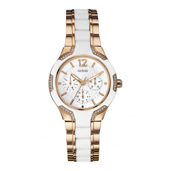 Guess Ladies Watch Centre Stage Rose and White