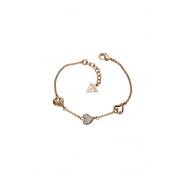 Guess Rose Gold Triple Heart Bracelet