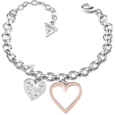 Guess Silver Rose Gold Heart Bracelet