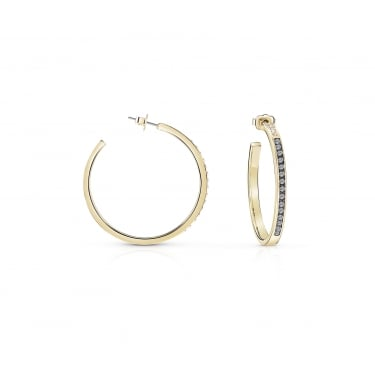 Guess Yellow Gold Crystal Hoop Earrings