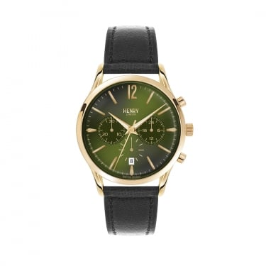 Henry London Gents Green Dial, Black Leather Strap