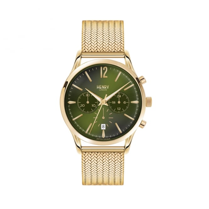 Henry London Gents Green Dial, Steel Mesh Strap