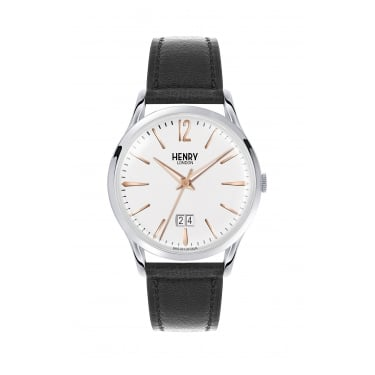 Henry London Gents White Dial, Black Leather Strap