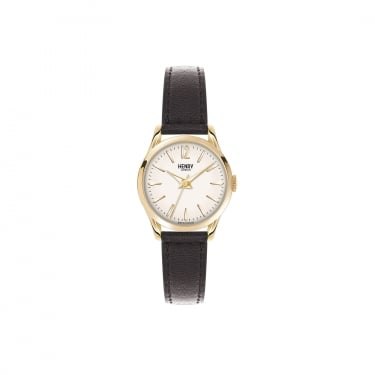 Henry London Ladies Champagne Dial, Black Leather Strap
