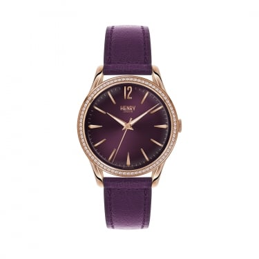 Henry London Ladies RG Stone set Case, Damson Leather Strap