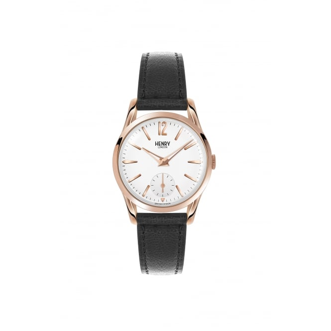 Henry London Ladies RG White Dial, Black Leather Strap