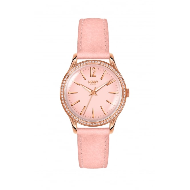 Henry London Ladies Shoreditch Pink Leather Strap Watch