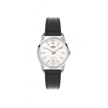 Henry London Ladies White Dial, Black Strap Watch