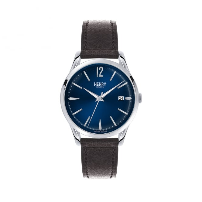 Henry London Unisex Blue Dial, Black Leather Strap