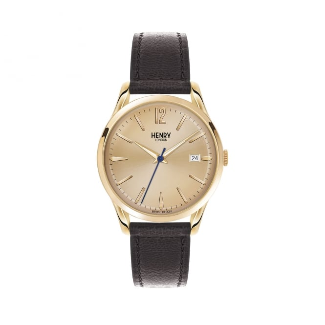 Henry London Unisex Champagne Dial, Black Leather Strap