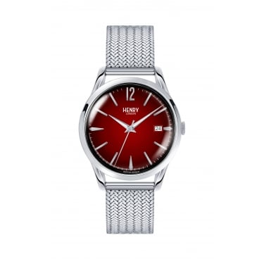 Henry London Unisex Chancery Red Dial Silver Mesh Strap Watch