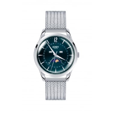 Henry London Unisex Knightsbridge Blue Dial Silver Mesh Strap Watch
