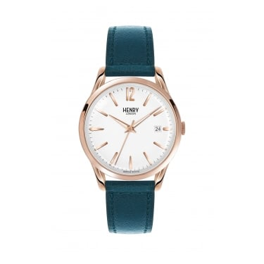 Henry London Unisex RG Teal Chrono, Teal Leather Strap