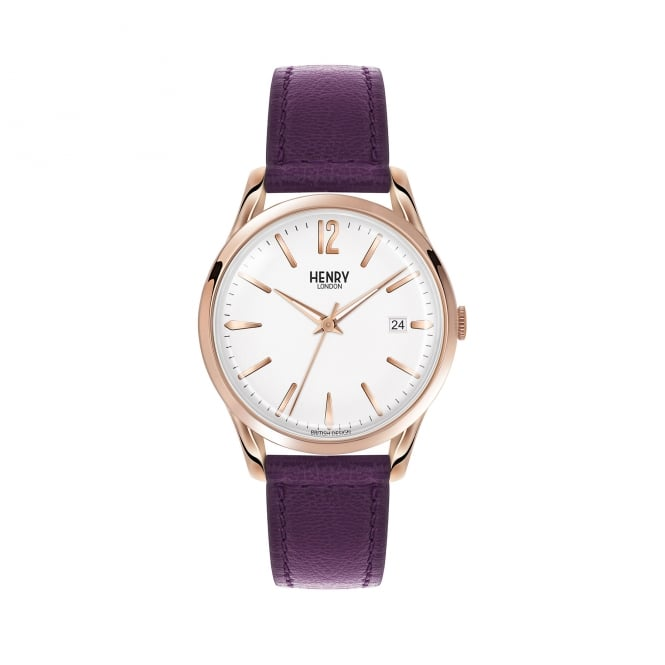 Henry London Unisex RG White Dial, Damson Leather Strap