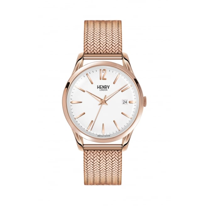 Henry London Unisex Rose Gold Case with White Dial with Rose Gold Mesh Strap