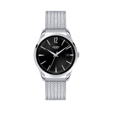 Henry London Unisex Stainless Steel Case Black Dial with Mesh Bracelet