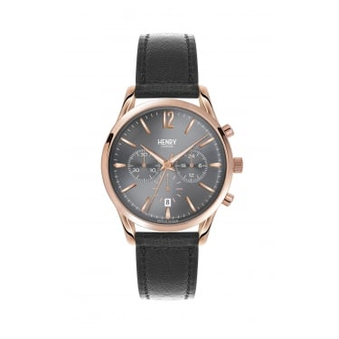 Henry London Unisex Watch Grey Face Black Leather Strap