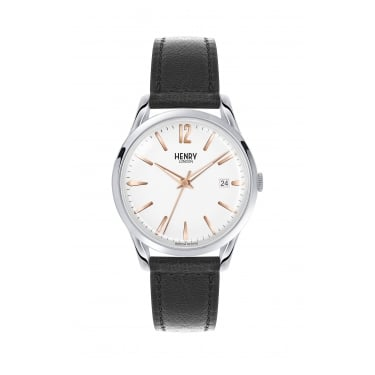 Henry London Unisex White Dial, Black Leather Strap