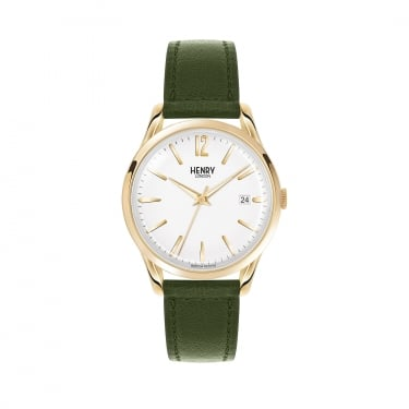 Henry London Unisex White Dial, Green Leather Strap