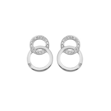 Hot Diamond Bliss Interlocking Circle Silver Earrings