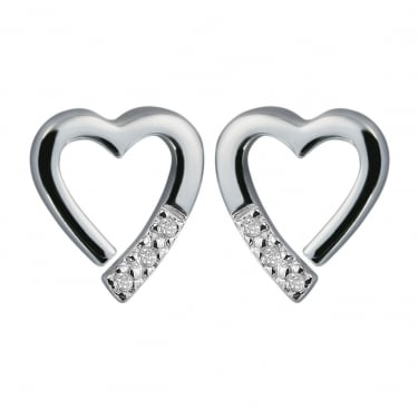 Hot Diamond Collection Heart Pave Earring