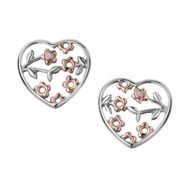 Hot Diamond Collection Shades of Spring Heart Stud Earrings